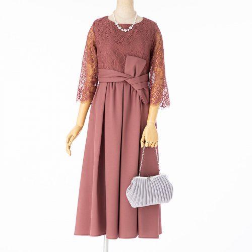 Select Shop ドレス3点セット ウエストリボンミモレドレス モーブピンク