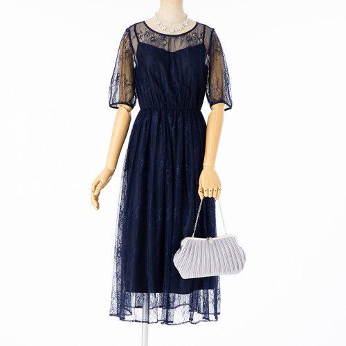 JILL STUART ドレス2点セット チュールレースバッグリボンドレス ネイビー